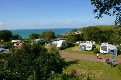 tent pitch Normandy sea view
