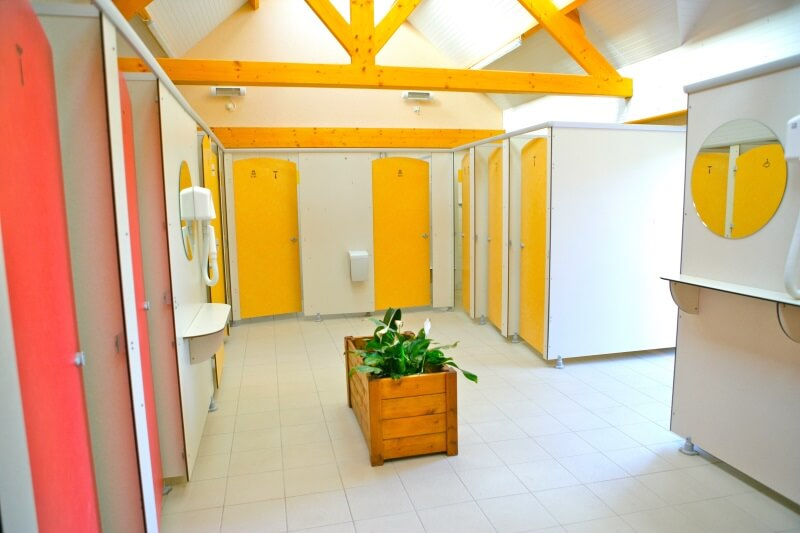 Clean sanitary facilities in campsite Normandy