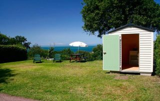 upmarket camping pitch in Normandy