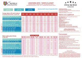 Rentals prices sheet